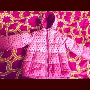 OshKosh B'gosh girl's pink warm jacket with dots